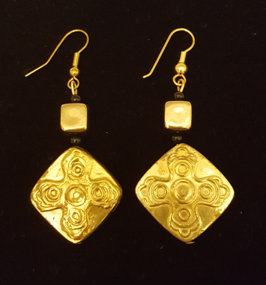 #AA5 Stunning Unique Embossed Gold  Earring Featured with Black Accents $45. Available in Wire, post or clip on