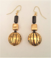 #AA7 UNIQUE GOLD EARRING WITH BLACK ONYX ACCENTS .  $25. AVAILABLE IN WIRE, POST OR CLIP ON