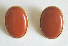 #AA8 Semi Precious  Oval Jasper Earrings  Encased in Gold Setting. $35. Available in Clip on only