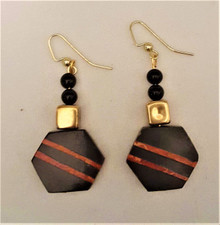 #AA9 UNUSUAL EARRING BLACK WITH APPLE CORAL INLAY AND ONYX ACCENT BEADS $25. AVAILABLE IN WIRE, POST, CLIP ON $25.