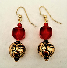 #AA14 Highly Embossed Gold Earrings with Faceted Dark Red drop $25. AVAILABLE IN WIRE, POST OR CLIP ON