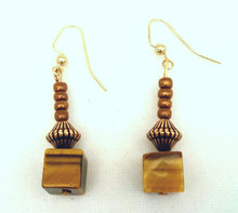 Earring  Unique Square Cut Semi-Precious Tiger Eye with bronze and antiqued embellishments