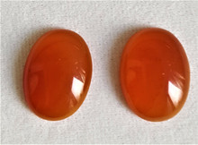 "#AA17  Small Semi-Precious Carnelian ""Button Style"" Earrings  Available in pierced only $20."
