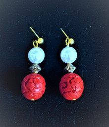 #A27  Carved Red Cinnabar Earrings with White Pearl . $38.  Available in Post, wire or clip on