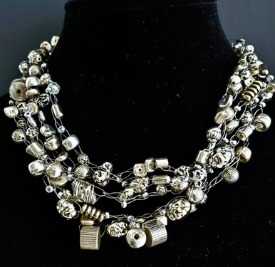 """#AAA6 Dramatic Hand-Crocheted Necklace with Multiple Strands of Assorted Silver Textured Beads.  16 """" @ $155.  18"""" long,  /  $160. 20"""" $165 25"""" @ $175."""