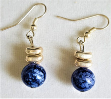 #A03 BLUE STONE AND SILVER EARRINGS $25. AVAILABLE IN WIRE, POST OR CLIP