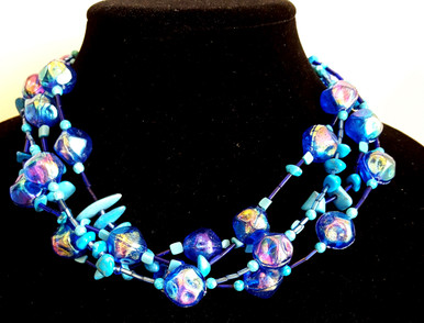 "#BN1 A wonderful color combination and very Light Weight  hand made with  Multiple Strands of Vibrant Blue Lacquer Beads and Semi-Precious Turquoise . This is a Statement Piece that everyone will Notice (available in sizes)  18"" @  $150. --- 20"" @ $155. --- 25"" @ $160. -- 30"" @ $165."