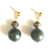 #A35 DARK GREEN JADE EARRING WITH GOLD ACCENT AVAILABLE IN WIRE, POST OR CLIP ON, PLEASE SPECIFY.