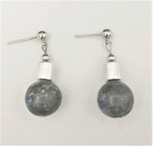 #A66 DARK GRAY SMOKY QUARTZ AND SILVER EARRING.  MAY BE ORDERED IN WIRE, POST OR CLIP ON, PLEASE SPECIFY