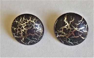 """#A07  BLACK AND SILVER """"BUTTON"""" STYLE EARRING AVAILABLE IN CLIP ON OR PIERCED $25."""