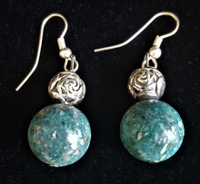 TURQUOISE FOSSIL STONE EARRINGS WITH A SILVER ETCHED ROSEBUD DETAIL