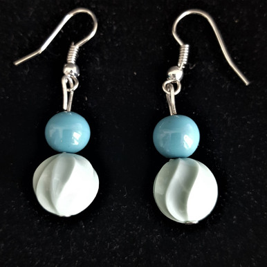 #A010 Earring Pastel Green with Turquoise  $25. Available in wire, post or clip on