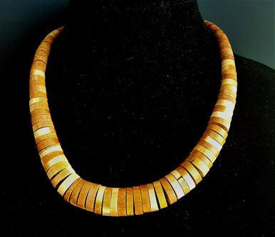 """#AA102 GRADUATED WOOD NECKLACE HAND-MADE 20"""" LONG $48."""