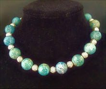 """#AN20 LARGE TURQUOISE FOSSIL STONE WITH SILVER ROSEBUD BEAD. 18"""" @  $75. --- 20"""" @ $80."""
