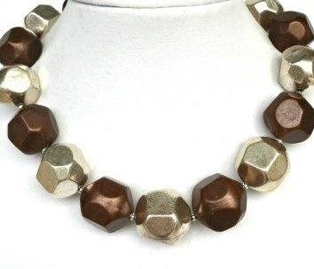 "#AN21 LARGE CHUNKY BRONZE AND SILVER NECKLACE  $65. 18""  or 20"" for $70."