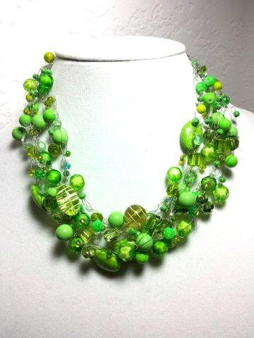 "#AN27 Bright and Cheerful Lime Green Hand-Crochet Necklace with a wonderful variety of  interesting beads 16' @ $155. / 18"" @ $160  /  22"" @ $165.  /  25"" @ 175."