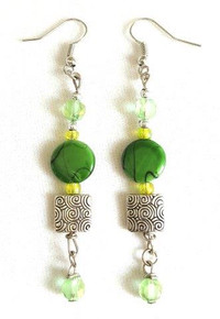 #AX 90 BEAUTIFUL LONG EARRING MADE WITH DELICATE ETCHED SILVER AND A SQUARE OF GREEN MOTHER-OF-PEARL 3 INCHES LONG. $45.  AVAILABLE IN WIRE, POST OR CLIP ON, PLEASE SPECIFY WHEN ORDERING