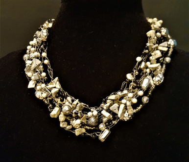 """#AAN3 HAND CROCHET NECKLACE WITH LIGHT GRAY FOSSIL STONE, ONYX AND SILVER ACCENTS. PRICE: $155.  18"""" @ $155.- --20"""" @ $160.---25"""" @ $175."""