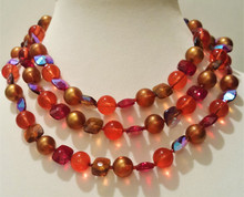 "#AAN4  ONE-OF-A-KIND NECKLACE : 3 GRADUATED STRANDS MADE FROM VIVID VINTAGE GLASS BEAD 18"" LONG WITH AN EXTENDER FOR MAKING IT LONGER  $95."