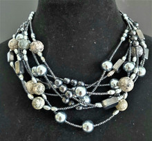 "#AN38 MULTIPLE STRANDS OF SEMI-PRECIOUS DARK GRAY HEMATITE , GRAY FOSSIL STONE AND GRAY PEARLS  16""@ $165/  18"" @ $168.  / 25"" @ $178.  / 32"" @ $198."