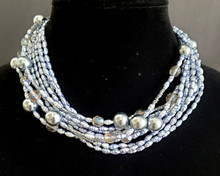"# AN58 LUXURIOUS STRANDS OF GRAY PEARS AND FACETED CRYSTALS 16"" @ $165. / 18"" @  $175. 20"" @ $180."