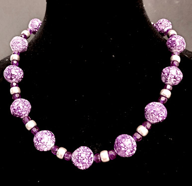 "#AN63 MOTTLED RASPBERRY COLORED NECKLACE WITH SILVER ACCENTS 16"" @ $45. --  18""  @  $48. --- 20"" @  $50.  --- 25"" @  $65."