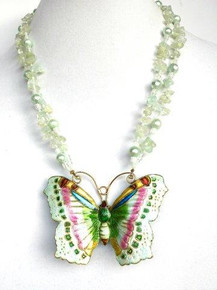 "#AN44 STUNNING ONE OF A KIND CLOISONNE BUTTERFLY ON A DOUBLE STRAND OF AQUAMARINE AND AQUA PEARLS $158. 20"" LONG, 25 "" @ $ 165."