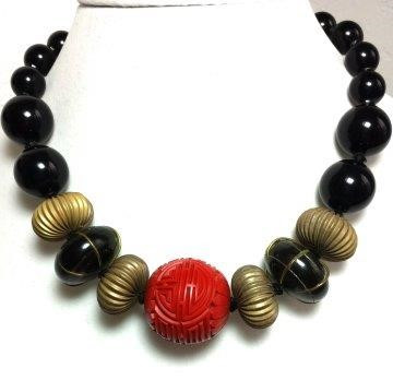 """#AN48 DRAMATIC LARGE CARVED CINNABAR WITH RIBBED METAL AND  LARGE BLACK BEADS 18"""" @ $165. --- 20"""" @  $170. ---25"""" @ $175.. I CAN ALSO MAKE AN EARRING TO MATCH THIS ON REQUEST."""