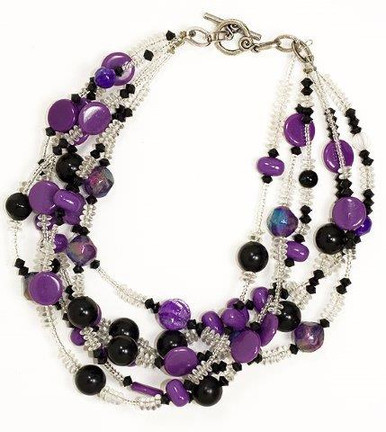 "#BN3 BRIGHT MULTIPLE STRANDS OF ASSORTED PURPLE BEADS 18"" $85. 20"" $90.  25"" $110.  30"" $ 125."