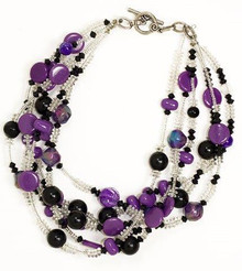 "#BN3 BRIGHT MULTIPLE STRANDS OF ASSORTED PURPLE BEADS  $16"" @ $75.  /18"" @ $85.   25"" @ $98.  30"" @ $125."