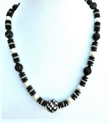 "#BN9 LONG BLACK AND WHITE CHECKERED NECKLACE WITH WHITE PEARLS  16"" @ $ 50. / 18"" $55 /.  25"" $65."
