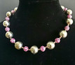 """#BN8  LIGHT WEIGHT SILVER BEADS WITH FUN RASPBERRY COLORED MOTTLED BEADS AS  ACCENTS  PRICE $55. 18"""" , 20"""" $60., 25"""" $75. -- 30"""" @ $125."""