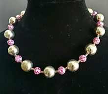 "#BN8  LIGHT WEIGHT SILVER BEADS WITH FUN RASPBERRY COLORED MOTTLED BEADS AS  ACCENTS  PRICE $55. 18"" , 20"" $60., 25"" $75. -- 30"" @ $125."