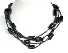 "#BN10 MULTIPLE STRANDS OF SEMI PRECIOUS DARK GRAY HEMATITE 18"" $155.  20"" $160.   or 25"" $170.  30"" @ $ 180."