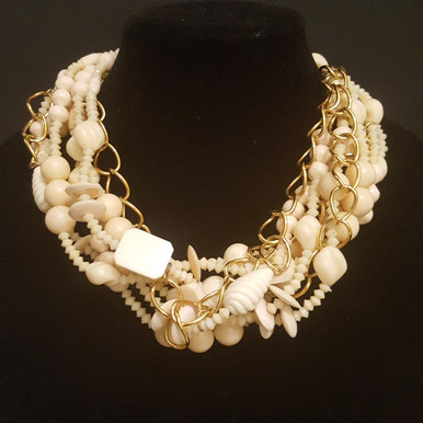"""#AN85  ONE-OF-A-KIND STATEMENT NECKLACE MULTIPLE STRANDS OF ASSORTED WINTER WHITE BEADS WRAPPED AROUND A THICK GOLD CHAIN 18"""" LONG AT  $195.. /  20"""" @  $225.  / 25"""" @ $255."""