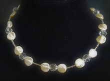 """#AN71 DELICATE FRENCH CRYSTAL PEARLS AND FACETED CRYSTAL  COST $65. 18"""" OR  $70.  20""""  , 25"""" LONG .$ 80.."""