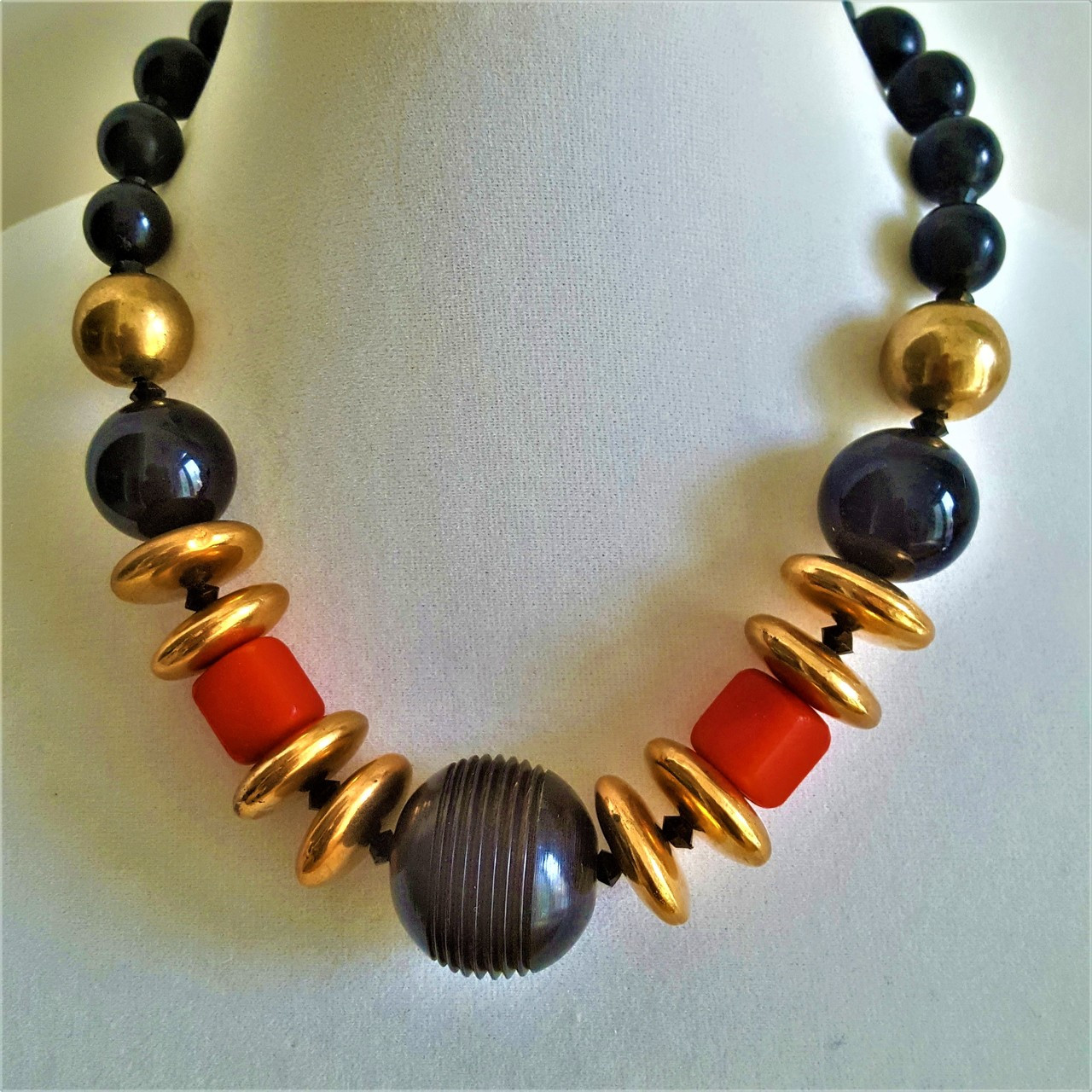 Large Black Carved Bone Center With Gold Discs And And Bright Red Accents 85 Lois Becker Jewelry