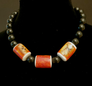 "#AN74 POLISHED APPLE CORAL AND BLACK BEADS  16: $ 75. 18"" @ $78.. --20"" @ 80. -- 25"" @ $90."