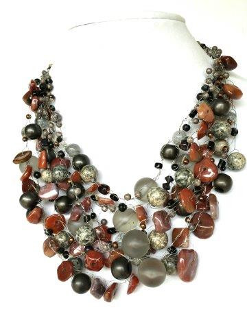 "#AN76  DRAMATIC ONE-OF-A-KIND STATEMENT NECKLACE  HAND CROCHET  ASSORTED  GRAY AND SEMI-PRECIOUS JASPER 18"" $195.  22"" $225."