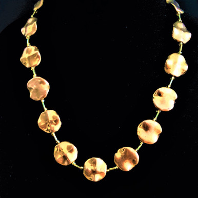 "#AN6 BRIGHT FLAT SHINY GOLD NECKLACE YOU CAN WEAR WITH EVERYTHING. IT IS AVAILABLE IN 18""  $55.  20"" $60. 25"" $75.  30"" $85""  /34"" @ $90"