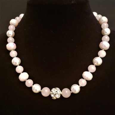 "#BN95 Feminine  Pink Necklace with Rhinestone Center piece, Semi-Precious Rose Quartz, White Pearls, Pale Pink Beads 18"" @ $98. -- 20"" @ $110. -- 25"" @ $125. -- 30"" @ $150."