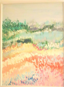 "#PA 1  Framed Colorful Acrylic Abstract Original Painting by artist Lois S. Becker with luscious pastel colors.  Size framed in a lovely ribbed white wood frame it measures 4 Ft. 1"" High x 3 FT. 1 1/2""  Wide"