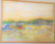"#PA 2  FRAMED ORIGINAL ABSTRACT ACRYLIC PAINTING BY ARTIST LOIS S.BECKER TITLED ""TREES AND WATER UNDER YELLOW SKY"" .  SIZE  3FT. 2 IN.  HIGH BY 4FT  2 IN. WIDE.  PRICE:  $950."