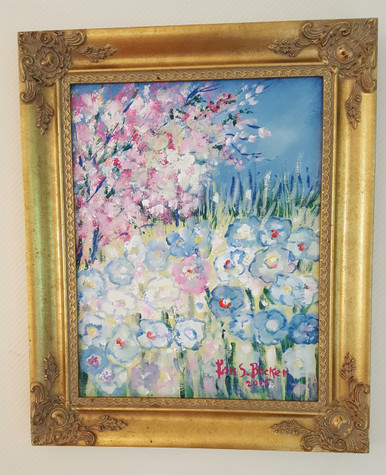 "# PA 3   ORIGINAL ACRYLIC FRAMED PAINTING BY ARTIST LOIS S. BECKER  ""APPLE BLOSSOMS AND FLOWERS"" FRAMED IN AN ORNATE GOLD FRAME THE SIZE IS 1FT. 1/2""  H  X 1 FT 3"" WIDE   PRICE $750."