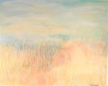 "#PA 5 ORIGINAL ACRYLIC PAINTING BY ARTIST LOIS S. BECKER TITLED ""BEACH DUNES EARLY MORNING.  FRAMED IN A SIMPLE BRUSHED GOLD IT MEASURES 4 FT. 3"" HIGH BY   5 FT. 3""  WIDE.  PRICE $1500."