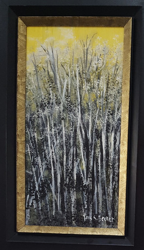 "# PA 6   ORIGINAL ACRYLIC PAINTING BY ARTIST LOIS S. BECKER TITLED ""YELLOW SKY AND BLACK AND WHITE TREES"".  FRAMED IN A BLACK BACKGROUND WITH A RAISED  GOLD BORDER AROUND THE PAINTING ITSELF IT MEASURES  2 FT  6 IN. HIGH  X  1 FT. 7 IN. WIDE      PRICE: $450."