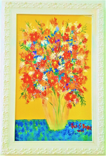 "#PA 10  ORIGINAL ACRYLIC PAINTING BY ARTIST LOIS S. BECKER TITLED ""CHEERFUL FLOWERS IN A VASE"" FRAMED IN AN ORNATELY CARVED WHITE FRAME IT MEASURES 2 FT. HIGH X 1 FT. 5"" WIDE.  PRICE $425."