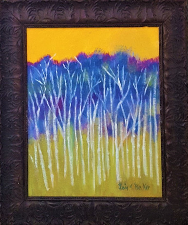 """# PA 9  FRAMED ORIGINAL ACRYLIC PAINTING BY ARTIST LOIS S. BECKER TITLED """"WHITE TREES YELLOW SKY """". INCLUDING THE WIDE ANTIQUE HIGHLY DECORATIVE CARVED FRAME THE PAINTING MEASURES 1 FT. 11 INCHES WIDE  X  2 FT 11 IN. HIGH    PRICE: $950."""
