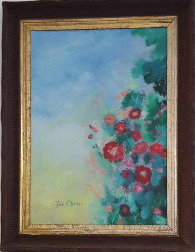 """#PA 13 ORIGINAL FRAMED PAINTING BY ARTIST LOIS S. BECKER. THE TITLE OF THIS PAINTING IS """"CLIMBING ROSES AGAINST A BRIGHT BLUE SKY"""" . IT IS FRAMED IN AN ANTIQUE FRAME OF DARK BROWN WOOD, THE SCALLOPED EDGES MAKE IT DISTINCTIVE. THE ENTIRE PAINTING MEASURES 2 FEET 11 IN. HIGH AND 2 FT. 3 INCHES WIDE. THE PRICE IS $675."""