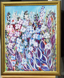 "#PA11 BRIGHT GARDEN  : FRAMED ACRYLIC PAINTING BY LOIS BECKER, PAINTED AS AN ABSTRACT OF HER HAPPY FLORIDA GARDEN. SIZE FRAMED 25"" W  X 31"" H   PRICE : $850."